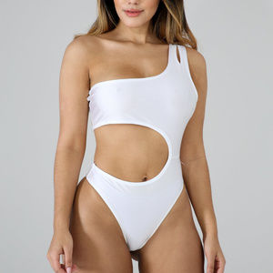 Womens White Cut-Out Side One-Piece Swimwear